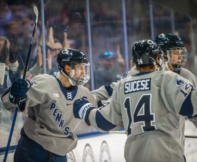 Penn State men's hockey vs Ohio State, Brandon Biro (10) goal celebration