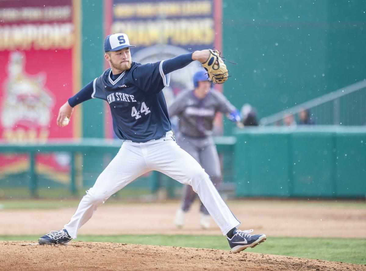 Penn State Baseball vs UMass Lowell, Bailey Dees (44) pitches in the snow