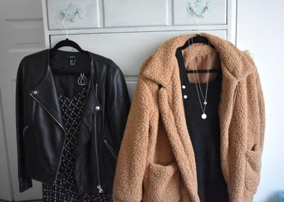 Leather and fuzzy jackets