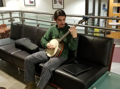 Monty Campbell playing banjo