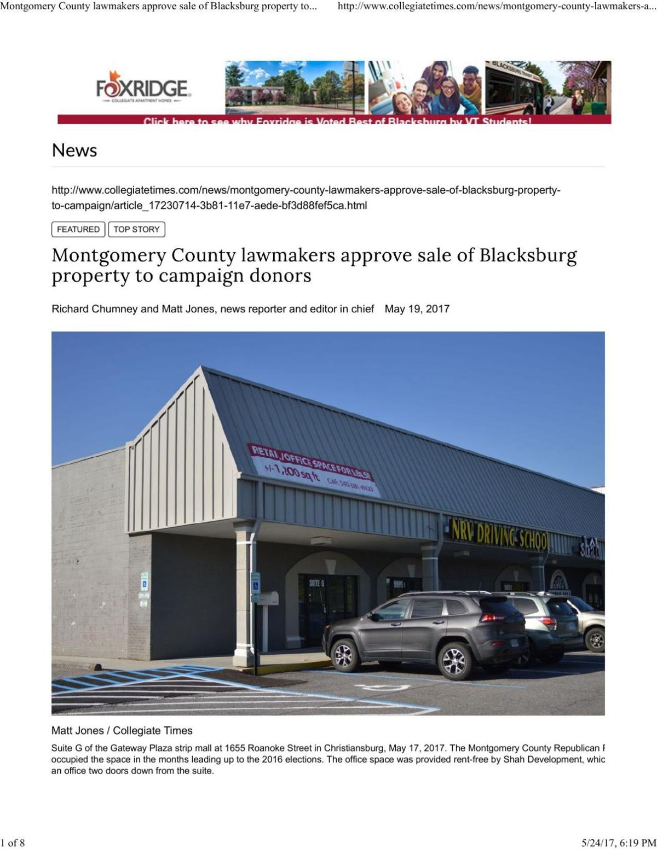 Uncorrected old Blacksburg High School Story