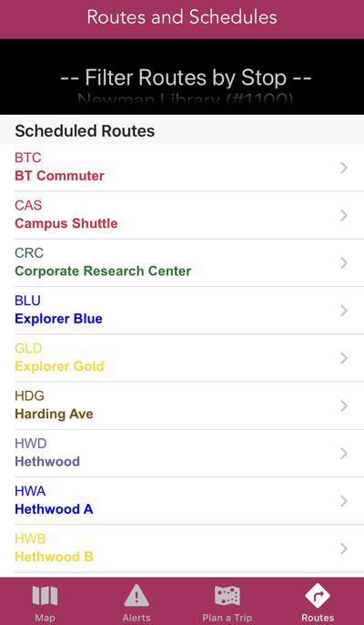 BT app route page