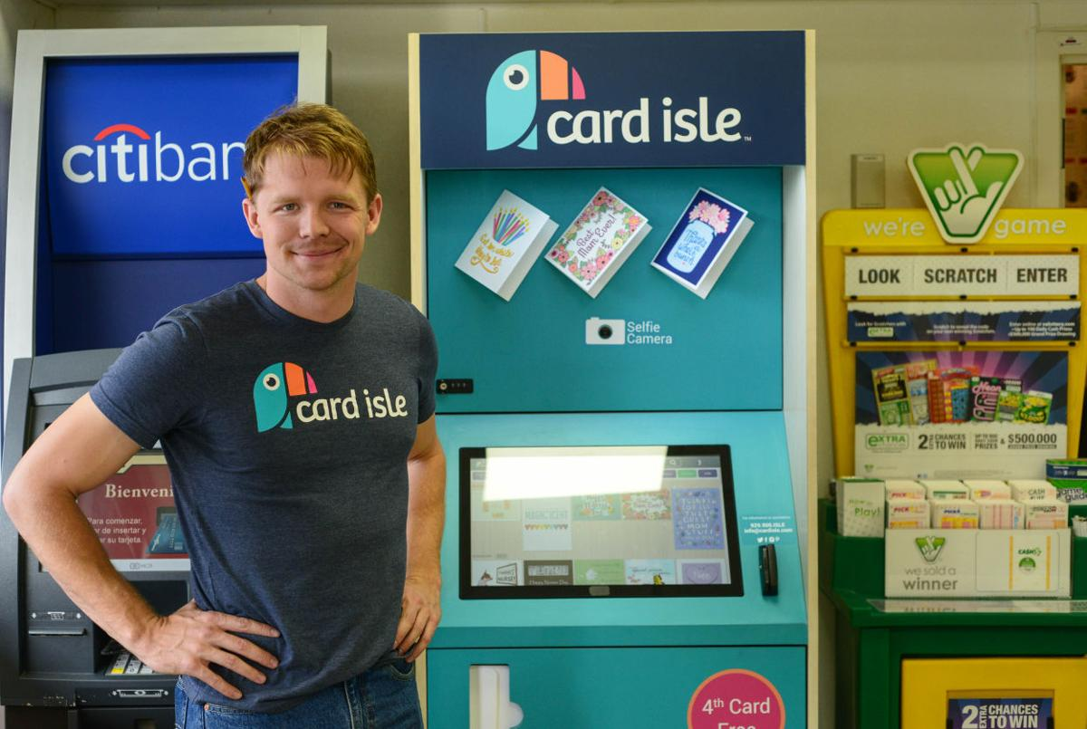 Hokie run business launches greeting card promotion in local 7 virginia tech graduate and card isle co founder david henry poses for a portrait in front of the newly installed kiosk at 7 11 on draper road march 30 m4hsunfo