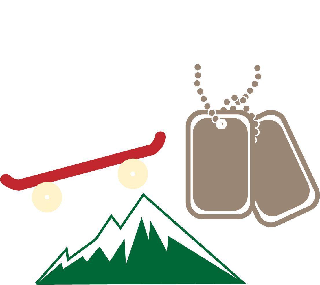 skateboard and mountain