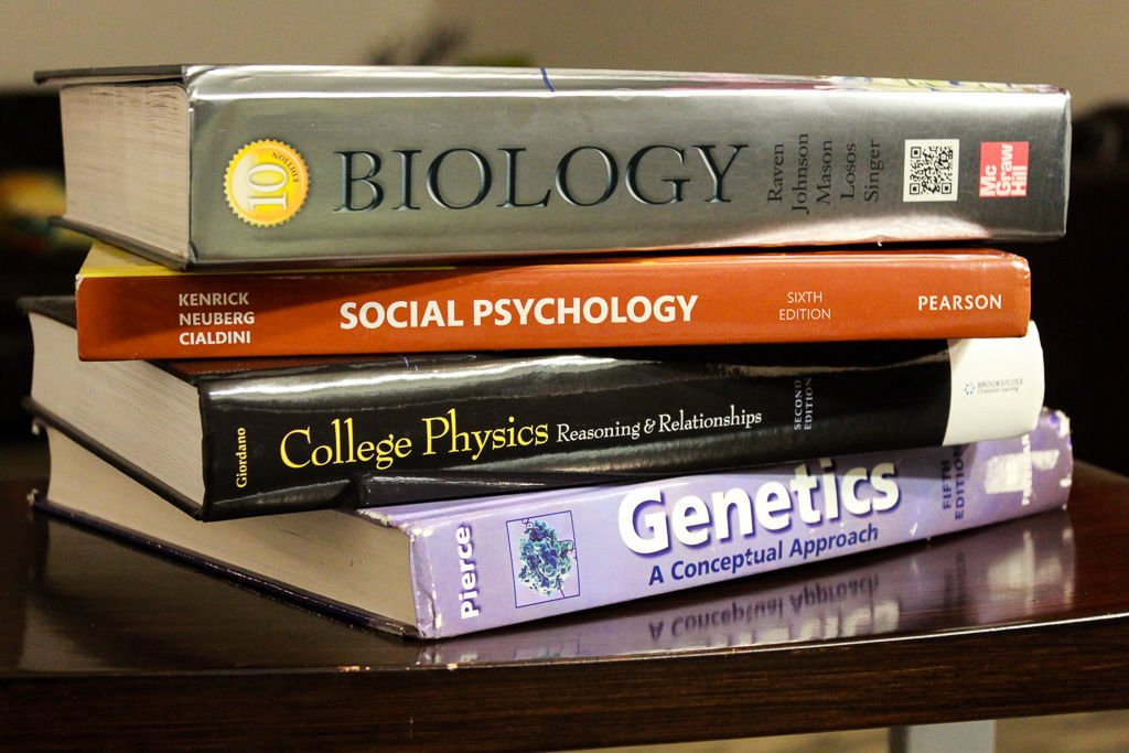 stack of textbooks