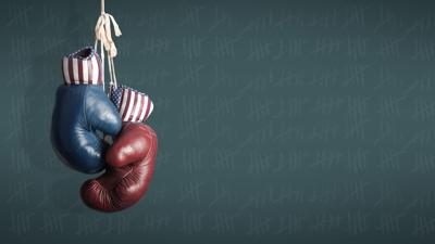red blue boxing gloves election battleground
