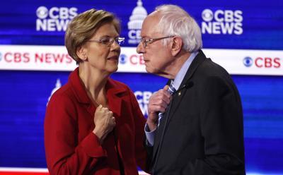 Election 2020 Debate Warren Sanders