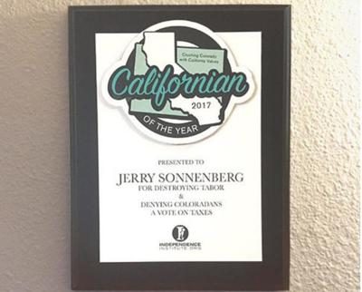"Sonnenberg wins dubious ""Californian of the Year"" award from Independence Institute"