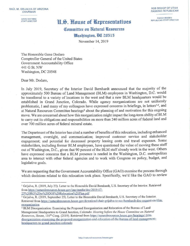 Grijalva letter to GAO