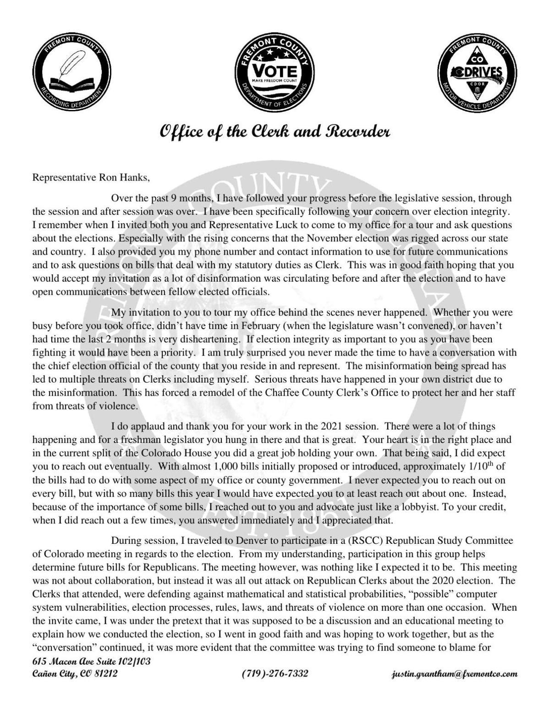 Grantham to Hanks letter