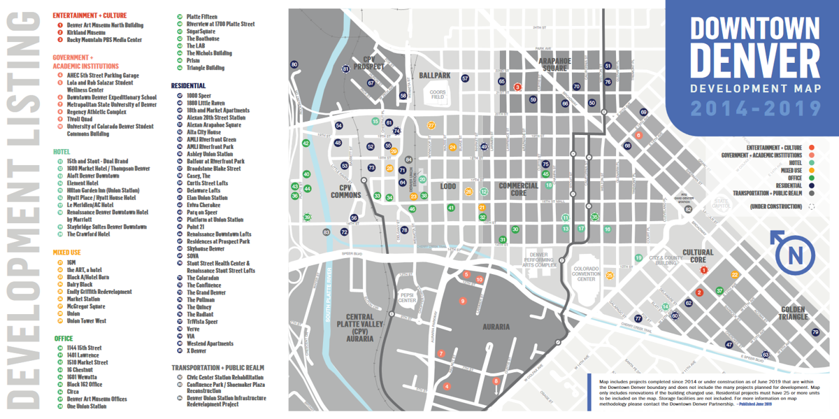 A Downtown Denver Partnership map showing development investments in the central city.