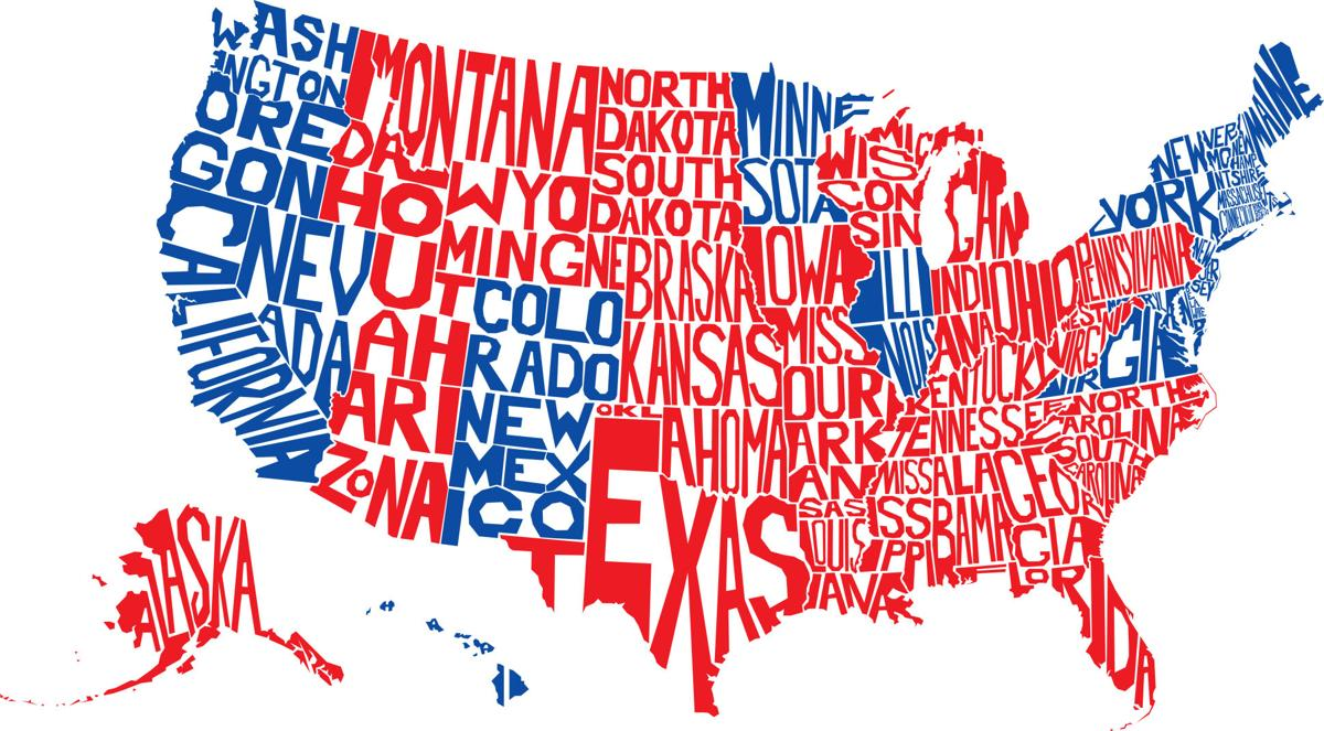 USA Word Map Election electoral college