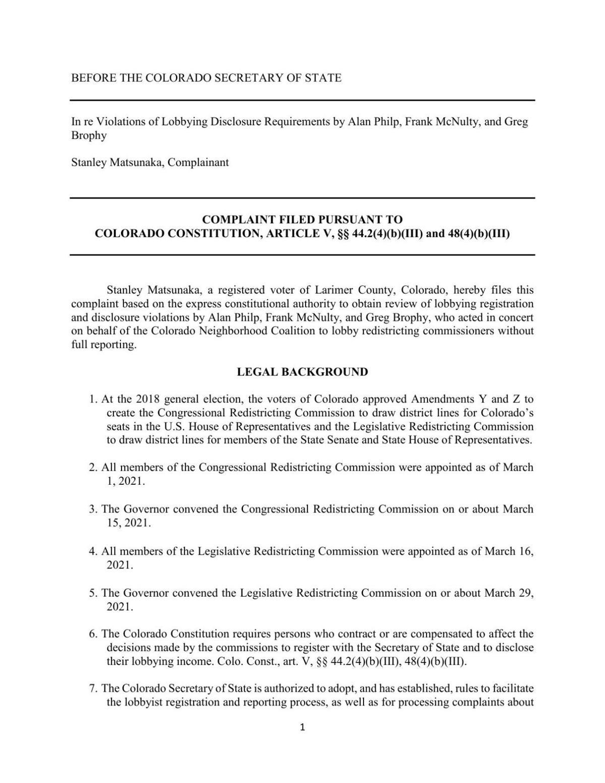 Colorado Redistricting Lobbying Complaint 2021-08-24