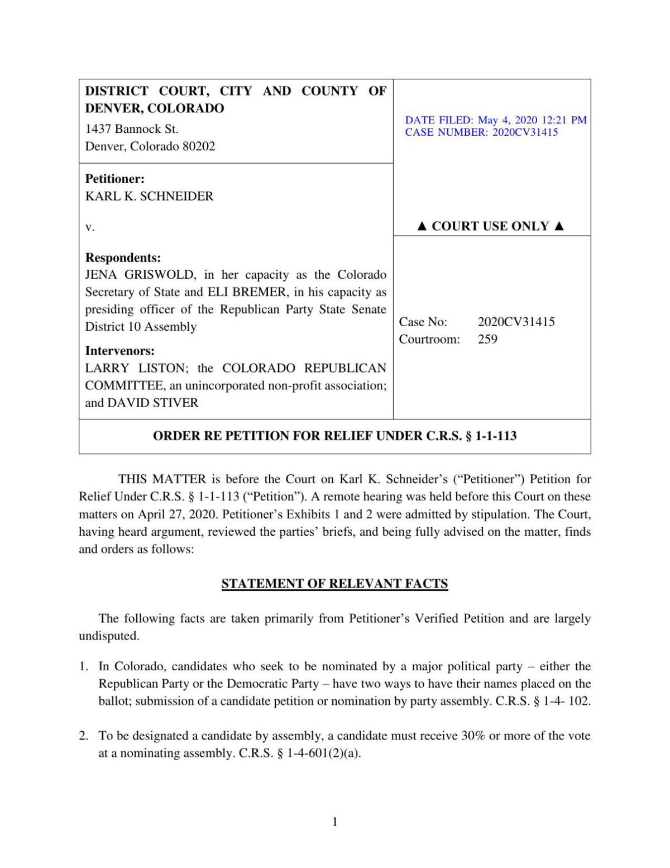 Order re Schneider v Bremer, Griswold