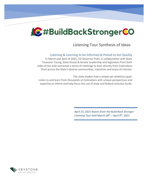 Build Back Stronger Colorado report