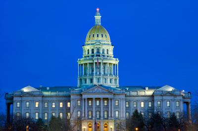 Denver Colorado State Capitol Building at Dusk