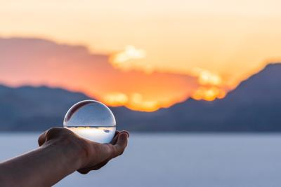 Crystal ball near Salt Lake City, Utah and mountain view and sunset