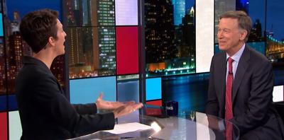 Presidential candidate John Hickenlooper talks with MSNBC's Rachel Maddow