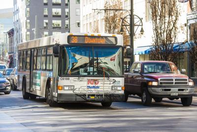 Public Transportation Bus Driving Downtown Denver Colorado