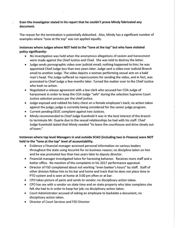 Memo detailing alleged misconduct of Colorado judges
