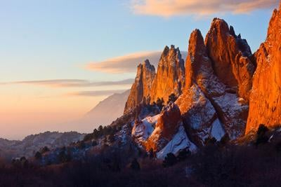 Garden of the Gods and skyline at dusk