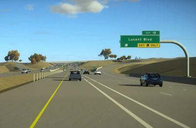 An image from an animation showing what the express lanes on C-470 will look like when completed. (CDOT)