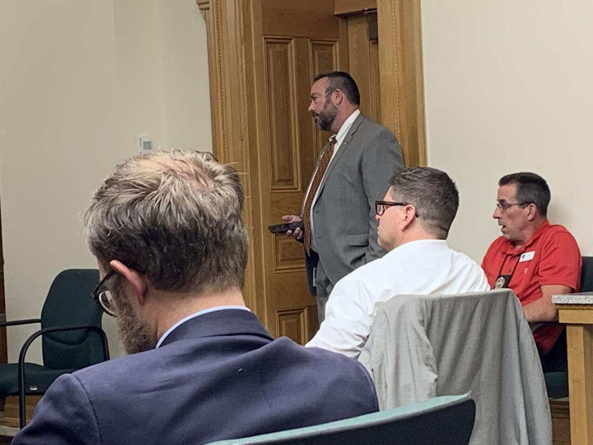 Minority Leader Hugh McKean during Tuesday's caucus meeting