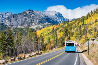 Visitor shuttle in Rocky Mountains National Park Colorado USA