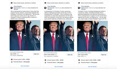 2020 Election Gardner Trump FB ads