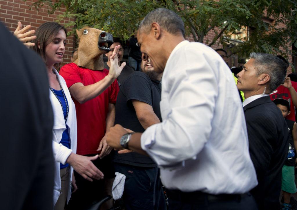 Barack Obama horse mask
