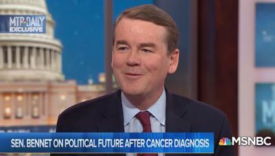 "U.S. Sen. Michael Bennet, D-Colorado, is interviewed on MSNBC's ""MTP Daily"""