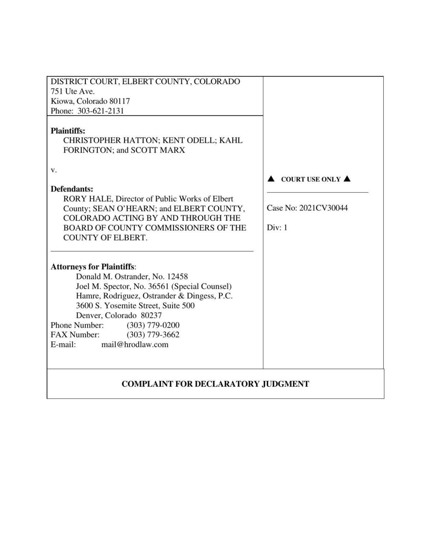 Elbert County lawsuit