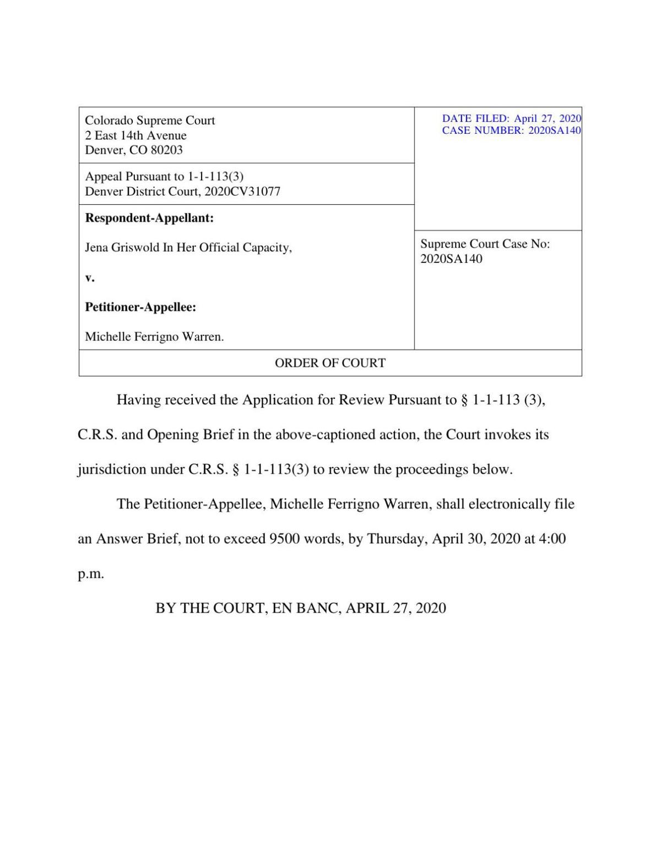 SOS v. Warren ORDER OF COURT