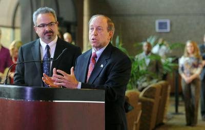 Colorado Springs Mayor John Suthers (right) and chief of staff Jeff Greene