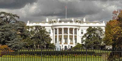 The White House in Washington DC with stormy sky; panoramic