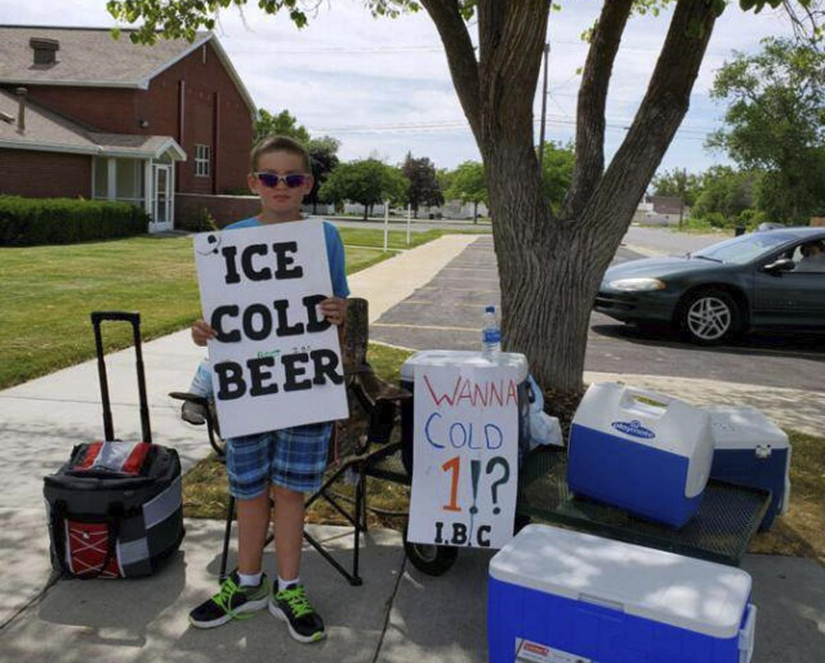 Kid Ice Cold Beer Sign