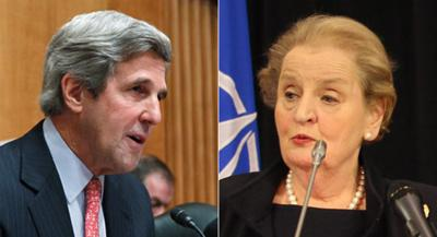 Former U.S. secretaries of state John Kerry and Madeleine Albright. (AP, file)