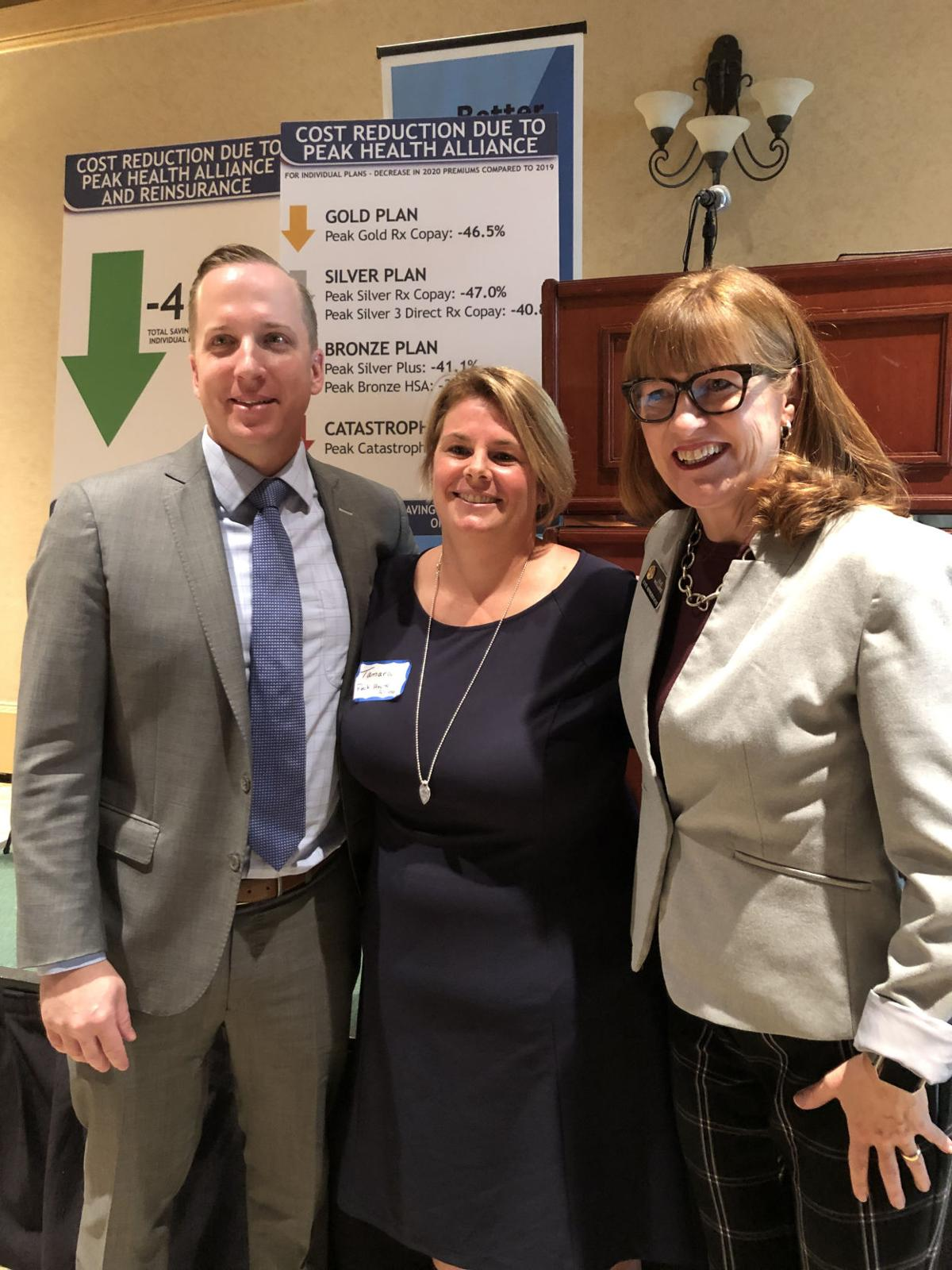 Colorado Insurance Commissioner Mike Connelly; Tamara Pogue Drangstveit, CEO of Peak Health Alliance; and Rep. Julie McCluskie, D-Dillon