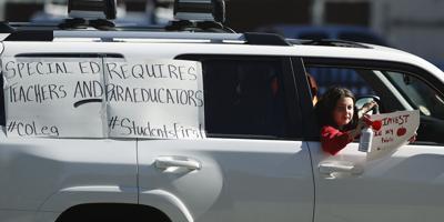 Virus Outbreak Colorado Education Rally