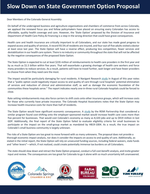 Colorado Coalition on the Public Option letter