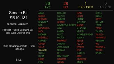 Senate Bill 181 vote