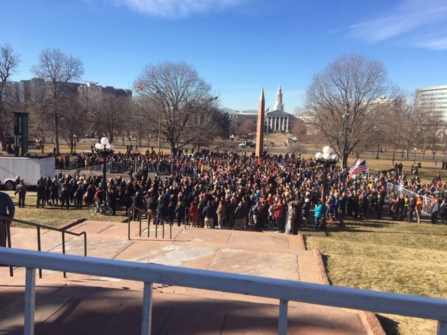Some of the thousands in attendance at Tuesday's inauguration of Gov. Jared Polis