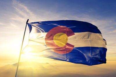 Colorado flag sunrise