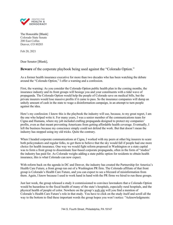 Letter to lawmakers public option