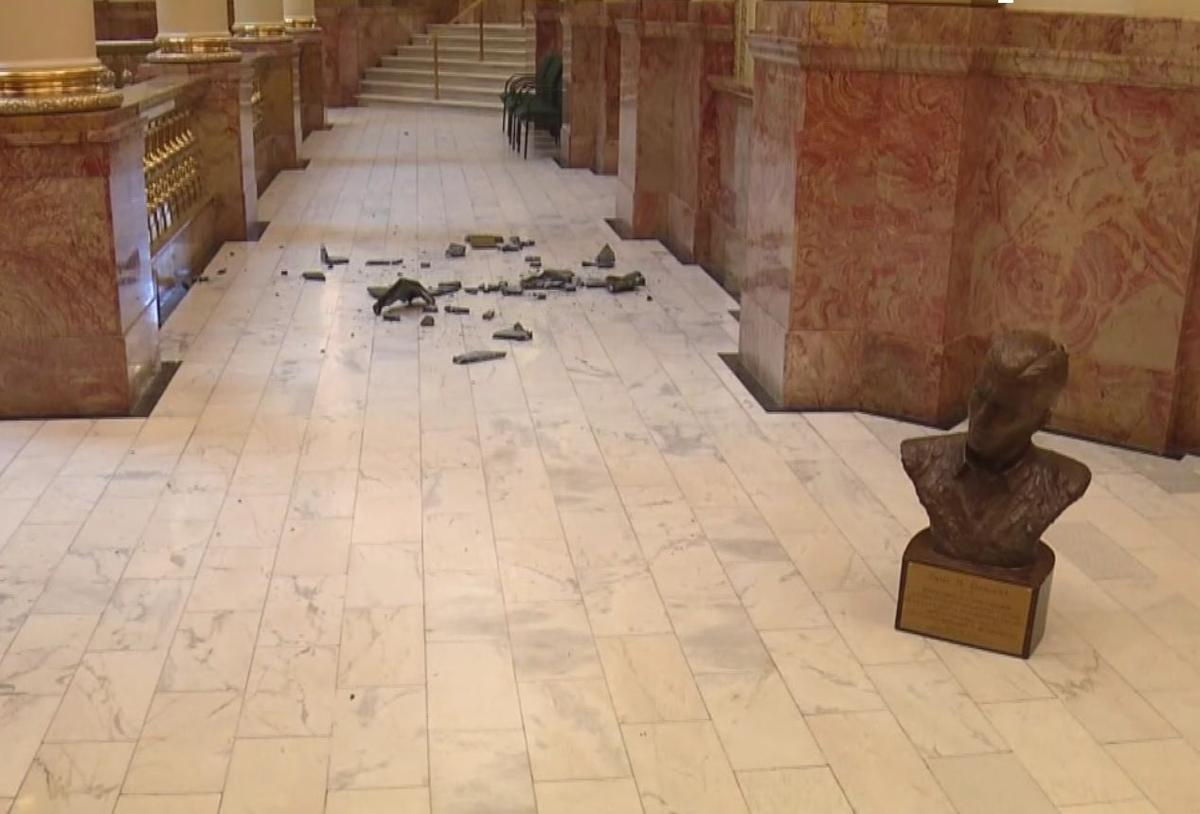 Busts inside Colorado Capitol vandalized
