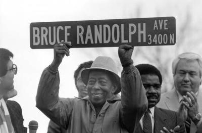 daddy bruce with street sign