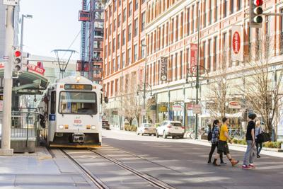 Public Transportation RTD Light Rail Tram in Downtown Denver Colorado