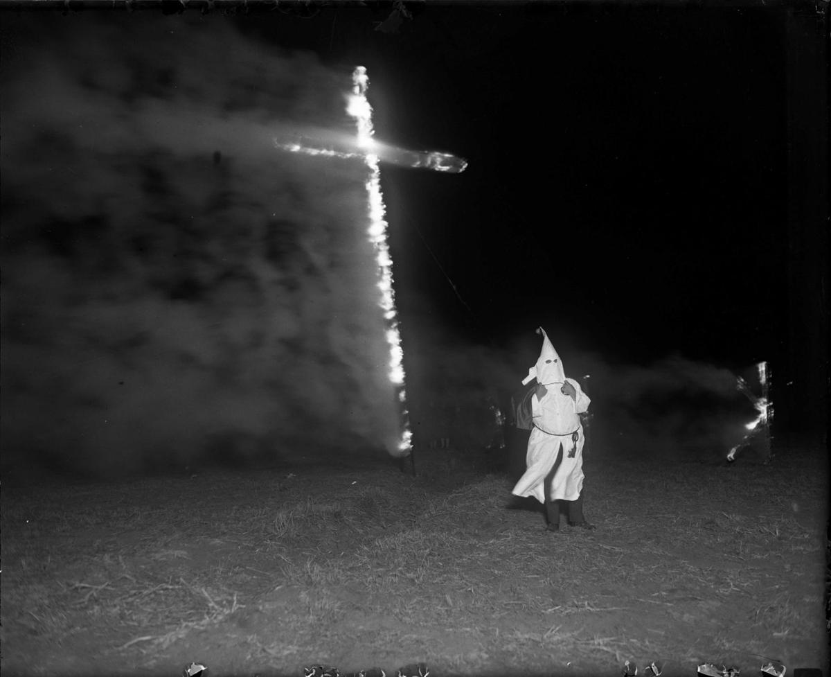 Ku Klux Klan cross-burning rally in Denver's Ruby Hill Park