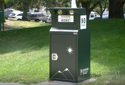A box installed by the city of Denver where drug users can safely dispose of used syringes.