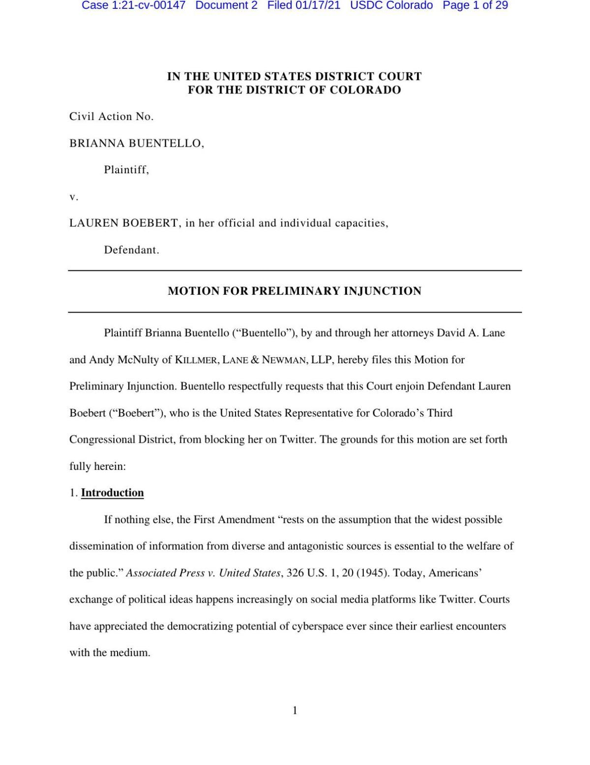 Boebert injunction